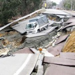 Fukushima disaster: road destroyed