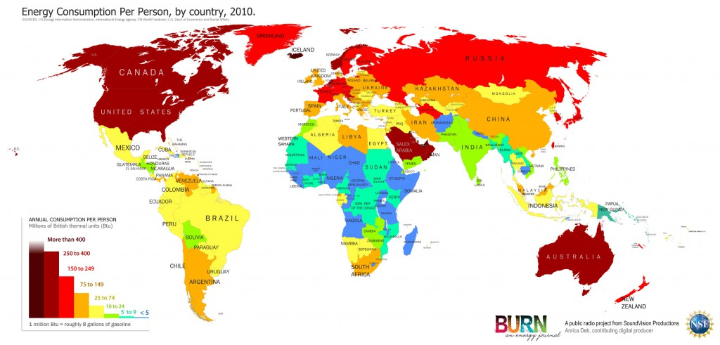 WorldMap - Energy Consumption Per Capita 2010