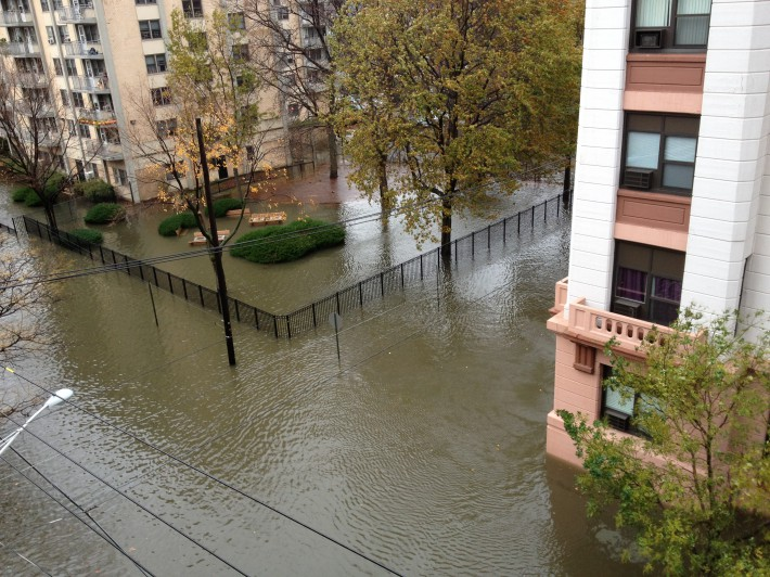 The view from Morgan McNeish's Hoboken apartment  the day after the flood…she and her teen-age son were trapped in their building in the low-lying west part of the city for three days with no power before they managed to get out. (Photo: Morgan McNeish)