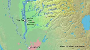 A map of the Yuba and Feather rivers in Northern California.