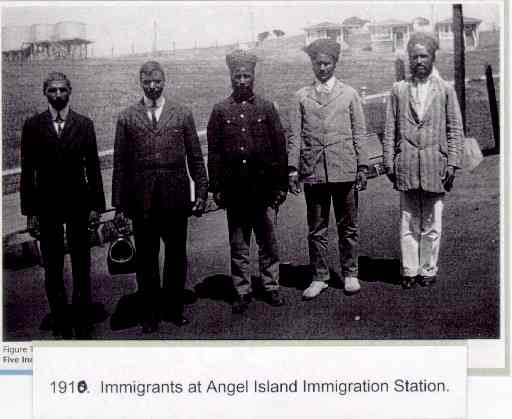 New Sikh immigrants arrive at Angel Island, circa 1910. The group arrived on the Nippon Maru from Japan, reported the San Francisco Chronicle. (File photo, courtesy of the late Tej Singh Sibia)