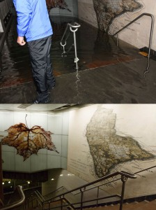 The stairs in the South Ferry station during Sandy (above) and today (below)